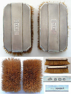 Silver Backed Art Deco Clothes Brushes (Pair): Adie & Sons: Birmingham 1934