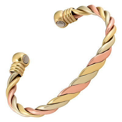 Copper Magnetic Therapy Bracelet High Power Pain Rare Earth Magnets Triple Cuff