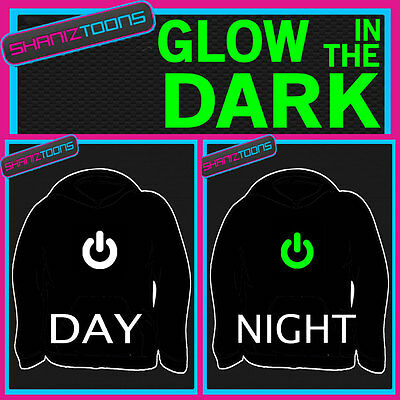 Power On Button Nerd Funny Adults & Childrens Glow In The Dark Hoodie Hoody