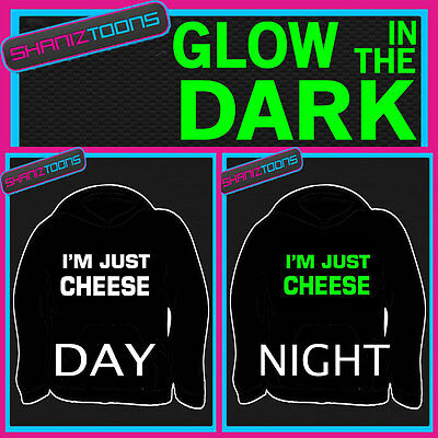 Love Cheese Funny Slogan Adults & Childrens Glow In The Dark Hoodie Hoody