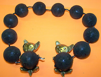 Black chain of 12  candles with two Brass Cat Ball Holders - Made in Austria
