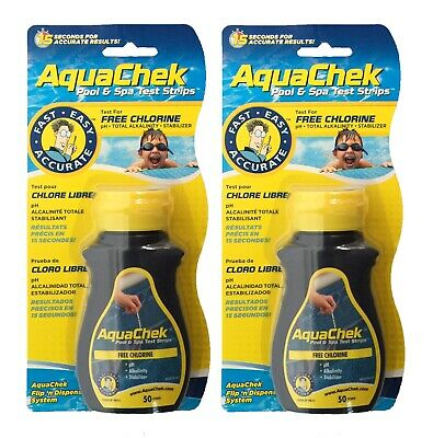 2 PACK Aquachek 4 Way Chlorine Test Strips (100) Hot Tub Swimming Pool Aquacheck