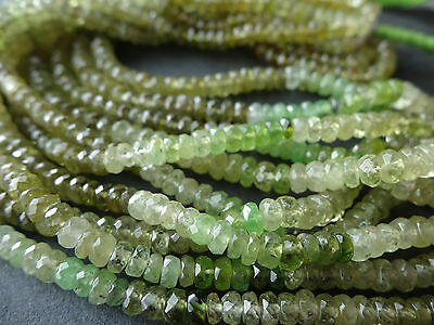 HAND FACETED GROSSULAR GREEN GARNET, 4mm - 4.5mm rondelle beads, 14.5""