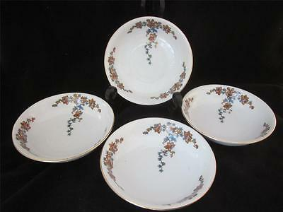 4 ROYAL BAYREUTH Bavaria ORANGE/YELLOW & BLUE FLOWERS 4 COUPE SOUP BOWL