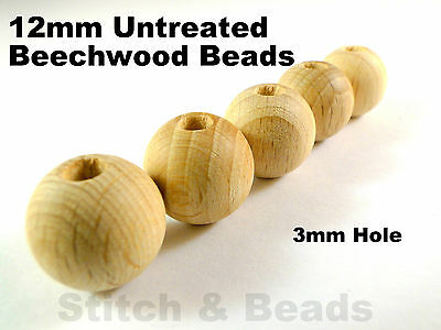 12mm Natural Wooden Beads Round Untreated Wood Balls 3mm Hole 100% Beechwood
