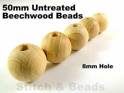 50mm Natural Wooden Beads Round Untreated Wood Balls 8mm Hole 100% Beechwood