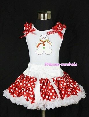 White Minnie Rose Pettiskirt White Top with Ruffles Bow Snowman Print Set 1-8Y