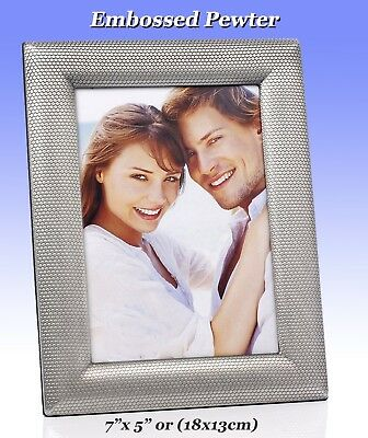 "Pewter Embossed 7x5"" Photo Frame for Hanging or Standing.(Kingston 4-415-58)"