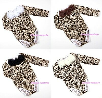 Newborn Baby Leopard Print Long Sleeve Jumpsuit Optional Roses Romper NB-12Month