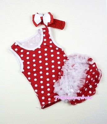 Infant Baby Red White Minnie Dot Top Bloomer Pantie Hair Clip Bow 3PC SET NB-12M