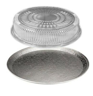 """Handi-Foil 16"""" Round Flat Aluminum Catering Serving Tray +Clear Dome Lid 10 Sets"""