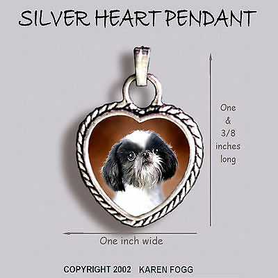 JAPANESE CHIN / SHIH TZU DOG - Ornate HEART PENDANT Tibetan Silver