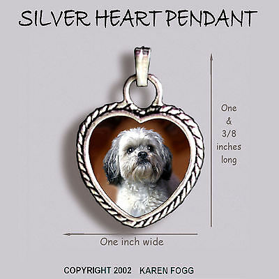 LHASA APSO DOG Sweet Face - Ornate HEART PENDANT Tibetan Silver