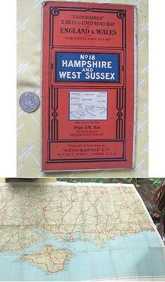 Vintage Map,HAMPSHIRE,WEST SUSSEX,UK,Geographia,England,Wales,Color
