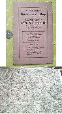 Vintage Map,RAMBLERS To LONDON COUNTRYSIDE,Geographia,Color,C.1930