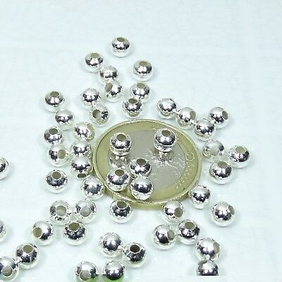 220 Abalorios Redondos 5mm Plateados  T91  Round Balls Plated Spacer Argento