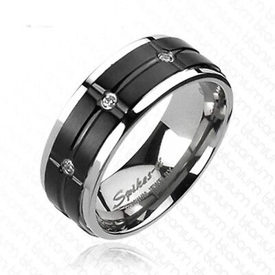 Solid Titanium Black IP Grooved Center Multi CZ Wedding Band 8mm Width Ring R242