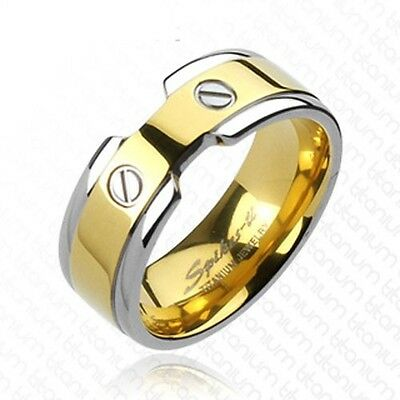 Solid Titanium 2-Tone Gold IP with Double Screws Design Wedding Band Ring R239