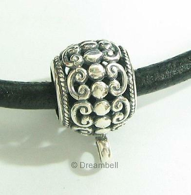 Sterling SILVER LEATHER CORD Filigree Flower RING Bail Pendant connector