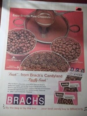 1965 Vintage Print Ad Brach's Chocolate Candy 10X13 Peanuts Stars Bridge Mix