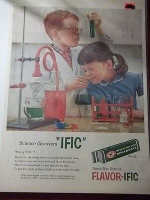"1958 VINTAGE PRINT AD FOR BEECH-NUT GUM WHAT IS ""IFIC"" 10X13 SCIENCE CHEMISTRY"