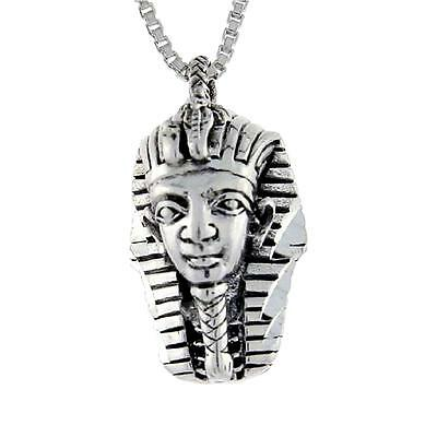 "Sterling Silver Egyptian King Tut Mask Pendant / Charm, 18"" Italian Box Chain"