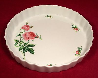 Christineholm Pink Roses Fluted Quiche Tart Pie Baking Pan Plate Green Leaves