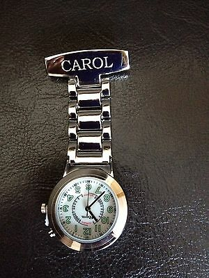 Personalised Engraved Chrome Nurse / Carers Fob Watch with Back light Gift Boxed