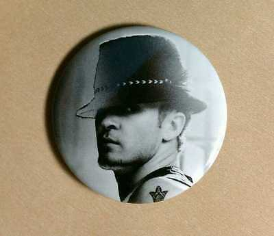 "Justin Timberlake B&w Photo Hat Close Up Lg 1 3/4"" Music Pin Button Pinback"