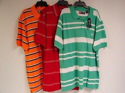 NWT Set of 3 Chaps Ralph Lauren Short Sleeve Polo Shirt Sz L Large Striped