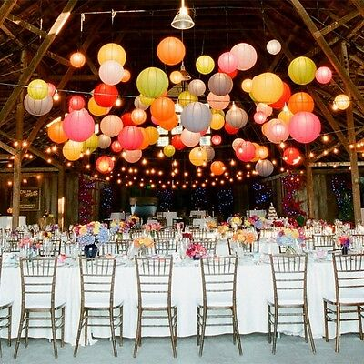 """6"""" 8"""" 10"""" 12"""" 14"""" 16""""Colorful Round Paper Lanterns Wedding Party Home Decoration"""