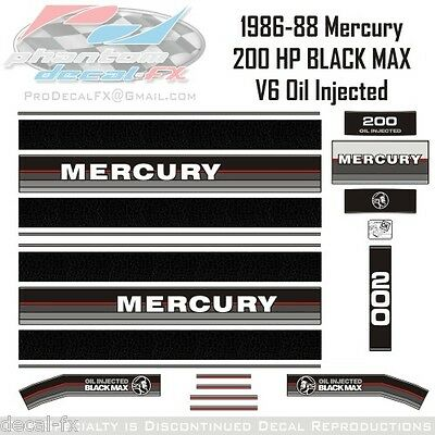 1986-88 Mercury 200 HP Oil Injected Black Max V6 Outboard Repro 21 Pc Marine