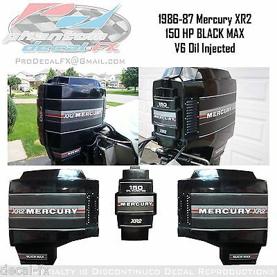 1986-87 Mercury 150 HP XR2 Black Max V6 Oil Injected Outboard Repro 21 Pc