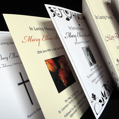 Personalised Funeral Memorial Order of Service Folded Card Booklet Sheet Printed