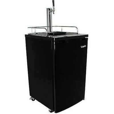 Black Full Size Beer Kegerator, Keg Dispenser Cooler Fridge w/ CO2 Tank & Tap
