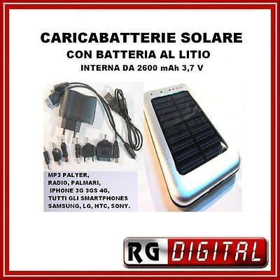 CARICABATTERIE SOLARE APPLE IPHONE 3GS 4G NOKIA SAMSUNG LITIO 2600mA USB