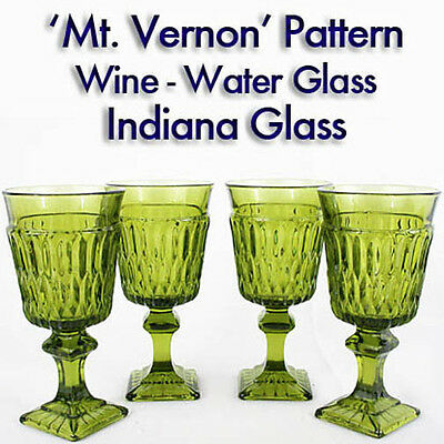 """2 INDIANA Glass OLIVE GREEN Mt.Vernon 5 3/8"""" WINE Small Water Glass Many Avail!"""