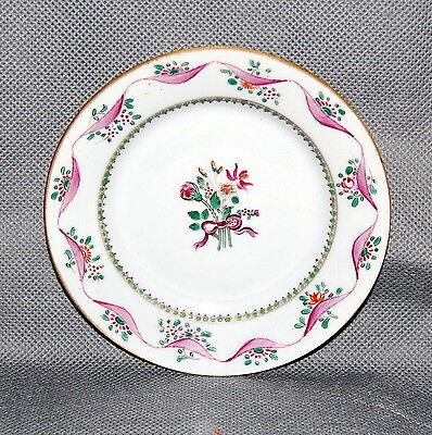 Chinese Export Porcelain Small Plate Pink Flowers Ribbon Green Enamels Antique