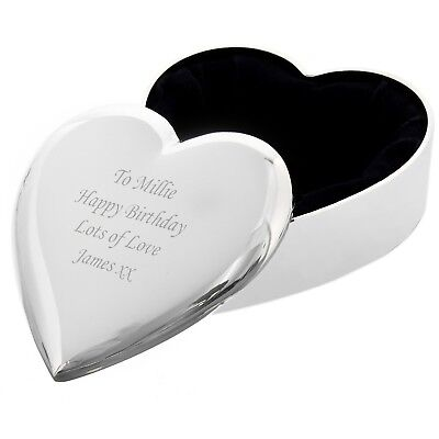 Personalised Heart Trinket Box - Great Christmas Gift - Free Laser Engraving