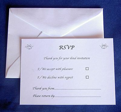 25 RSVP Cards & Envelopes Wedding Reception Anniversary Engagement Size A7 C7