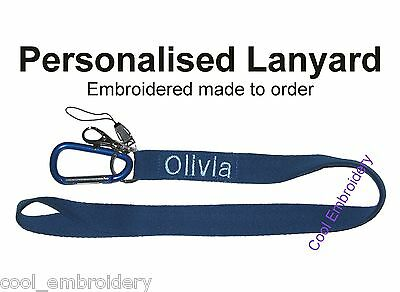Personalised Embroidered Lanyard Made to order - Colour font choice