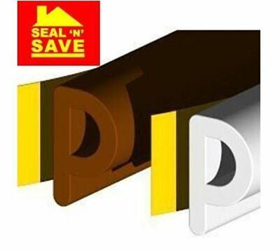 Seal N Save EPDM 'P' Section Rubber Strip Draught Excluder - 5mtrs White & Brown