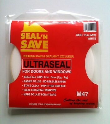 Seal N Save ULTRASEAL Premium Rain & Draught Excluder - 15mtrs White & Brown