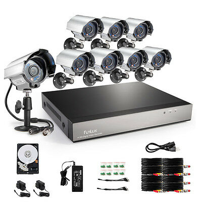 8CH Channel H.264 D1 Network DVR 600TVL Outdoor CCTV Security Camera System 1TB