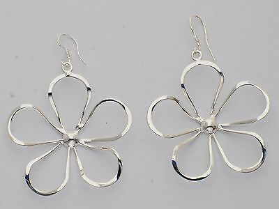 Tumi large dangly flower earrings silver plate hand made Mexico fair trade 52mm
