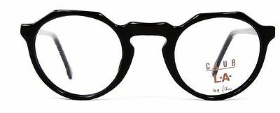 Club LA 1222 Vintage European Black P3 Keyhole Retro Small Unisex Eyeglasses NOS