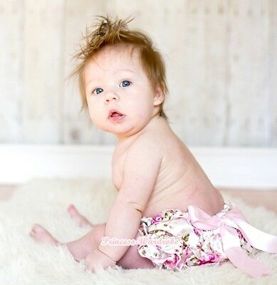 Newborn Baby Pink Floral Fusion Rose Bloomers Pantie Bows For Pettiskirt 6m-3Y