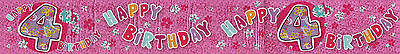 Age 4/ 4Th Birthday Banner Pack Girl Yellow/ Multi Flowers Wall Decorations (Ex)