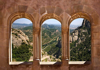 View Monastery of Montserrat, Spain-12'W by 8'H-Wall Mural