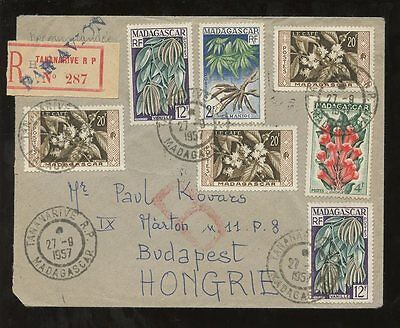 MADAGASCAR 1957 REGISTERED 7 stamps FRANKING to HUNGARY AIRMAIL